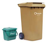 Brown bin with kitchen caddy - link to recycling information