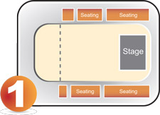 Concert showing stage area and three quarter mark.