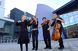 String quartet outside the Albemarle Music Centre