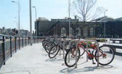 Bicycles locked up at railings