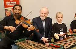 Richard Stilgoe OBE playing the gamelan