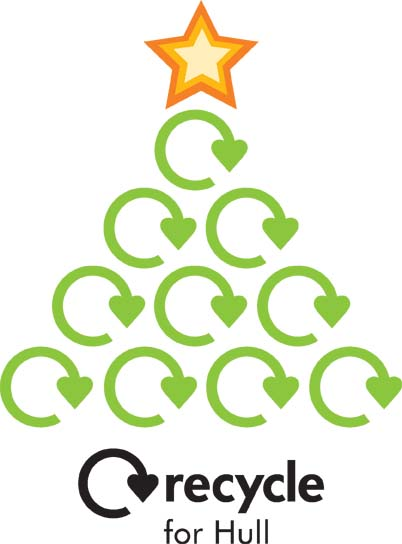 Recycle for Hull Christmas tree with recycling symbols